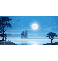 Misty River Landscape vector