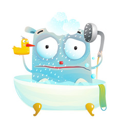 monster sad shower vector image