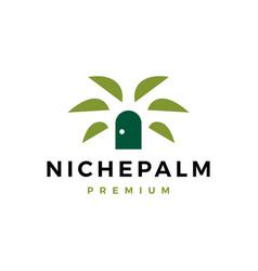 niche palm door logo icon vector image