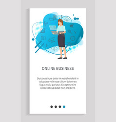 Online business woman communication vector