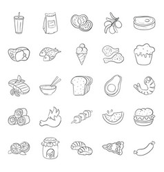 Pack food products doodle icons vector