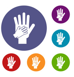 parent and child hands together icons set vector image
