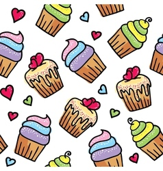 pattern of cupcakes vector image