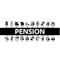 Pension retirement minimal infographic banner vector