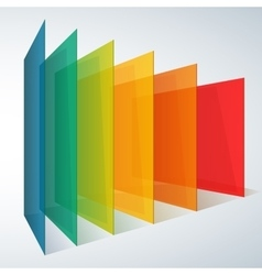 Perspective rainbow abstract rectangles on white vector