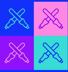 Pop art line marshalling wands for aircraft vector