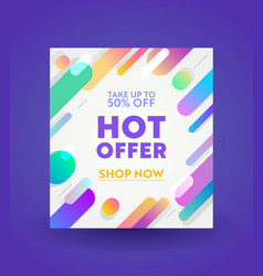 Promotion and shopping template for hot offer vector