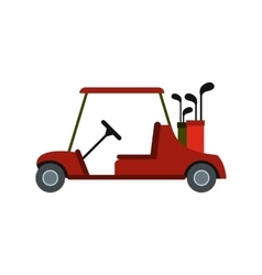 Red golf car icon vector