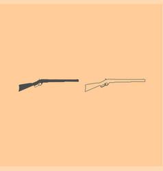 rifle dark grey set icon vector image