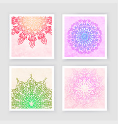 Round gradient mandala on watercolor trace vector