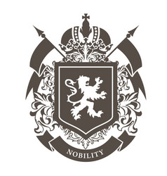 royal blazon - luxurious coat arms with lion vector image