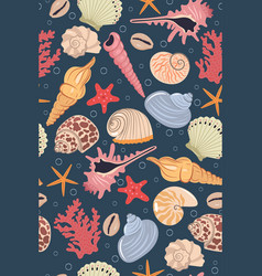 seamless pattern with sea shells graphics vector image