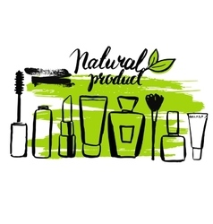 Set brush hand drawn natural eco cosmetics vector image