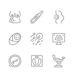set line icons pregnancy vector image