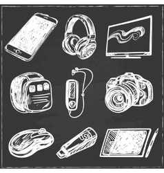 Set of smart media devices and personal gadgets vector
