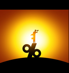 Silhouette man looking through telescope standing vector