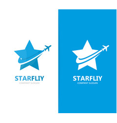 Star and airplane logo combination vector