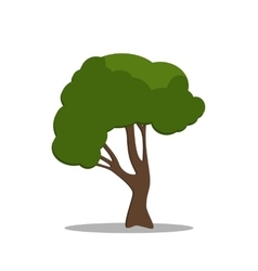 Stylized green tree in cartoon style vector