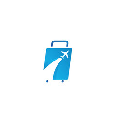 suitcase with plane for transport or travel logo vector image