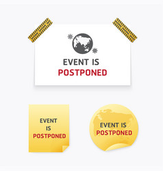 This event is postponed paper sticker banner vector