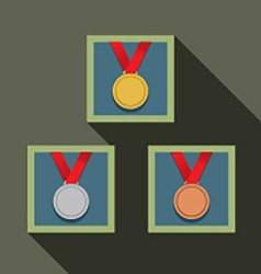 Three Medal In Picture Frame vector image