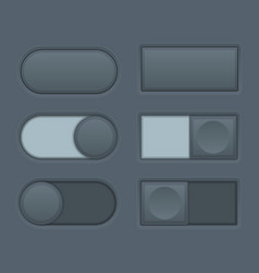 Toggle switch buttons set of black button pairs vector