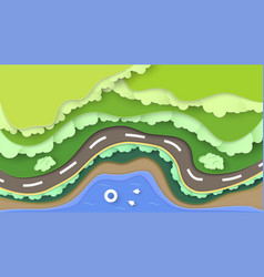 Top view nature scene forest with sea and vector