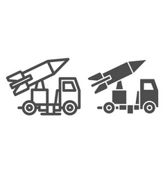 Truck with rocket line and glyph icon rocket vector