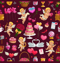 valentine day love hearts cupids seamless pattern vector image