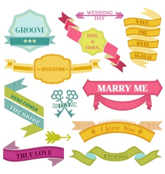 Wedding Vintage Frames Ribbons vector image