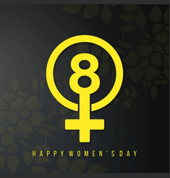 womens day typogrpahic card with black background vector image