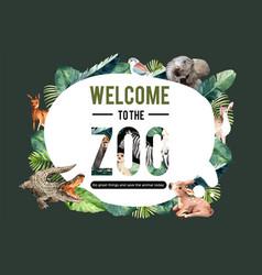Zoo frame design with crocodile meerkat zebra vector