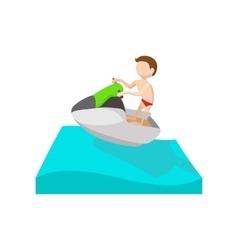 A man riding on a ski jet cartoon icon vector image