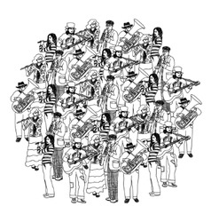 Big group musicians band orchestra monochrome vector