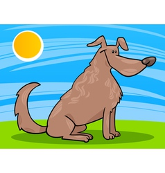 cute sitting dog cartoon vector image vector image