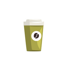 Green take away paper coffee cup hot coffee vector