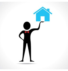 Man holding a home icon vector image