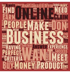 Meet The Perfect Online Business text background vector image vector image