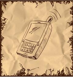 Old mobile phone on vintage background vector image vector image