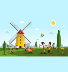 people in city park with windmill flat design vector image vector image