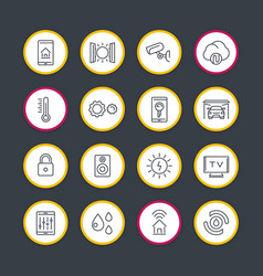 smart house technology system line icons set vector image vector image