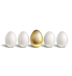 Gold Egg Concept White and unique golden eggs vector image vector image