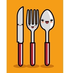 kawaii knife spoon and fork icon design vector image