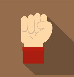 Raised up clenched male fist icon flat style vector