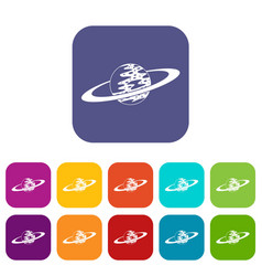 saturn icons set flat vector image vector image