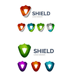 set of geometric abstract icons - shield vector image vector image