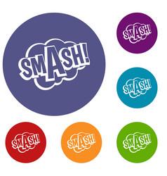 Smash comic book bubble text icons set vector