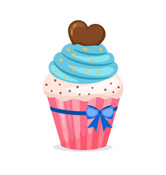 sweet cupcake with blue frosting vector image
