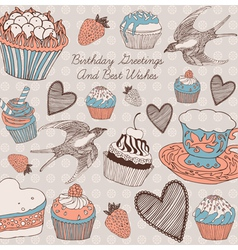 Vintage romantic card with swallows vector image