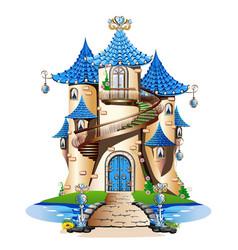 Blue fairytale castle vector
